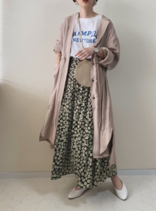 小花柄のマキシ丈スカートの30代女性向けコーディネートに関する参考画像