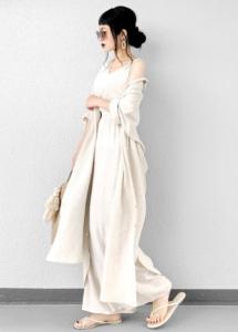 リネンシャツの30代女性向けコーディネートに関する参考画像