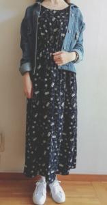小花柄のマキシ丈ワンピースの30代女性向けコーディネートに関する参考画像