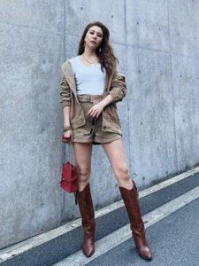 【2020年秋】ウエスタンブーツの30代レディース向け色別流行コーデの参考画像